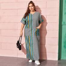 Vestido maxi con estampado tribal de rayas