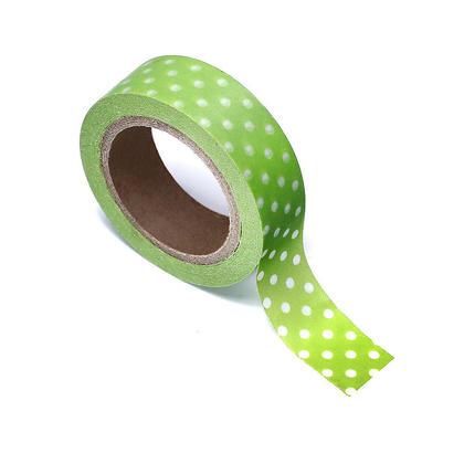 Washi Tape Green with Dots 15mmX10m 1Pcs LIVINGbasics™
