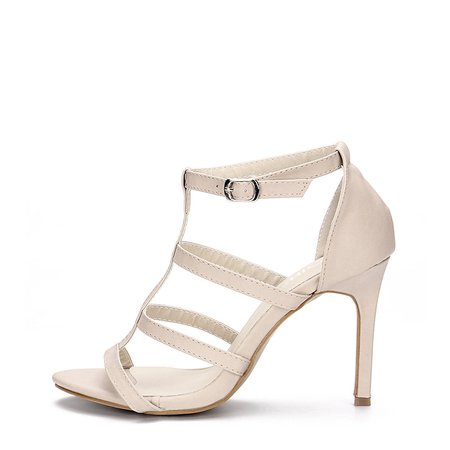 Yoins Apricot Leather Look High Heel Gladiator Sandals