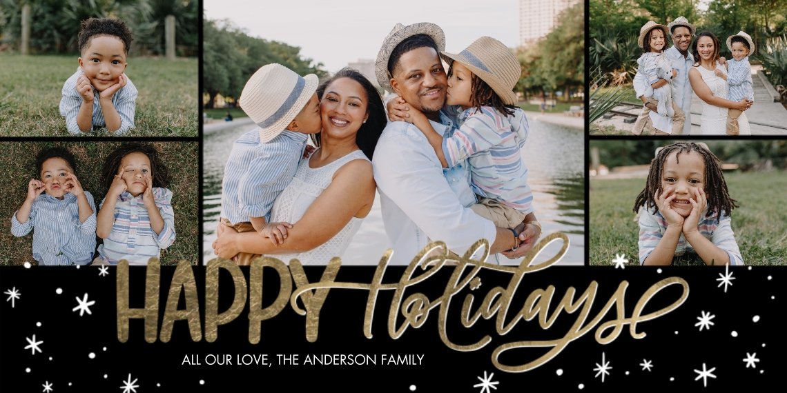 Holiday Photo Cards Flat Glossy Photo Paper Cards with Envelopes, 4x8, Card & Stationery -Holiday Gold Script by Tumbalina