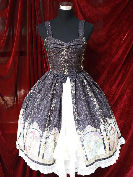 Milanoo Vestido de tirantes de algodon mezclado con estampado