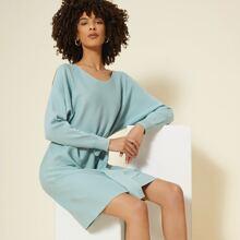 Schulterfreies Pullover Kleid mit Selbstguertel