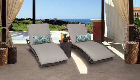 Belle Collection BELLE-CURVED-CHAISE-2x-ST-BEIGE Patio Set with 2 Chaises   1 Side Table - Wheat and Beige