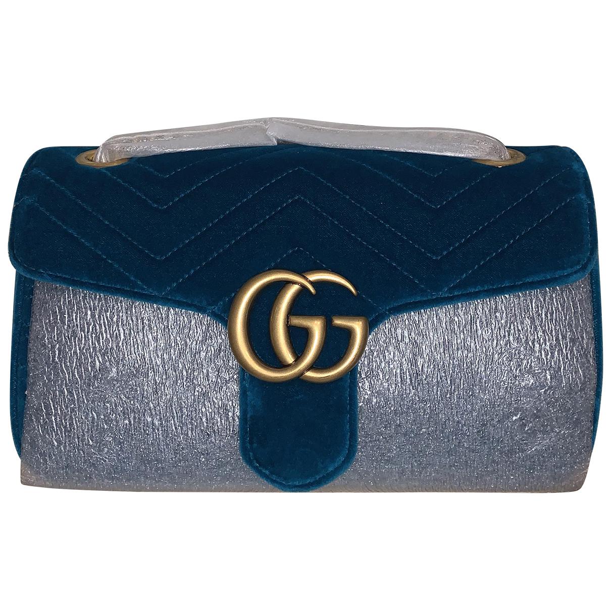 Gucci Marmont Handtasche in  Tuerkis Samt