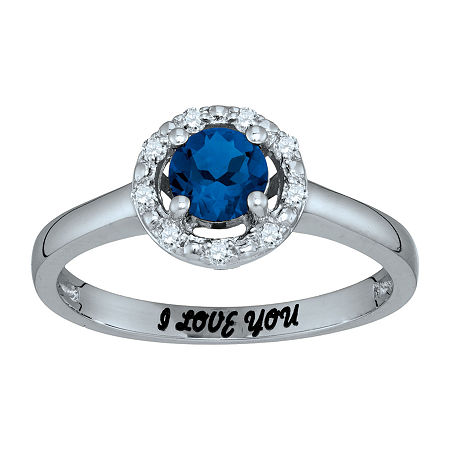 Personalized Simulated Birthstone & Cubic Zirconia Halo Ring, 7 , White