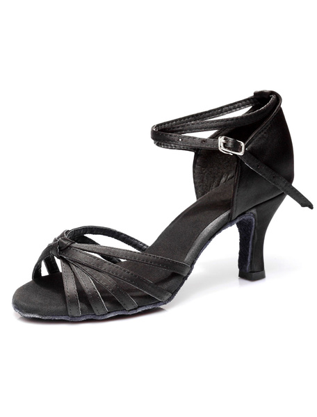 Milanoo Deep Brown Satin Ballroom Shoes for Women