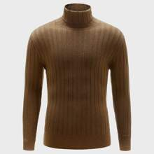 Men High Neck Rib-Knit Sweater