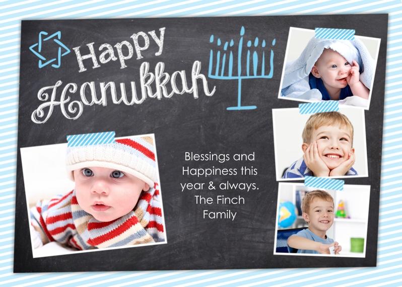 Hanukkah Photo Cards Mail-for-Me Premium 5x7 Folded Card , Card & Stationery -Happy Hannukkah Chalkboard