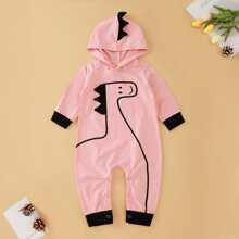 Baby Girls Cartoon Print Hooded Jumpsuit