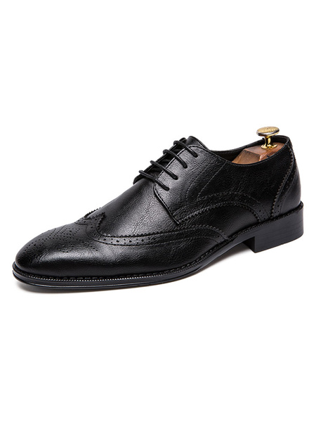 Milanoo Dress Shoes For Man Quality Round Toe Lace Up PU Leather Shoes