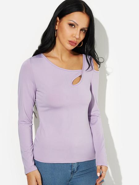 Yoins Purple Cut Out One Shoulder Long Sleeves T-shirt