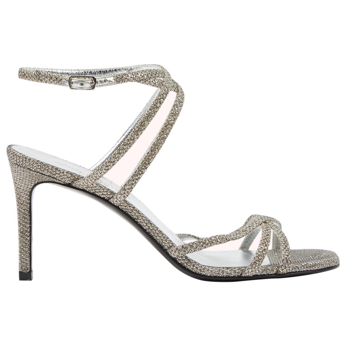 Saint Laurent \N Silver Glitter Sandals for Women 36.5 EU