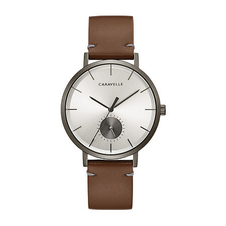 Caravelle Designed By Bulova Mens Brown Leather Strap Watch-44a120, One Size , No Color Family