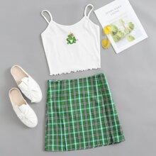 Dragon Embroidery Rib-knit Cami Top & Split Hem Plaid Skirt Set