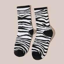 Men Zebra Striped Pattern Socks