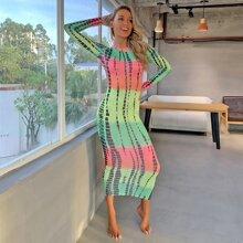 Brush Stroke Print Tie Waist Bodycon Dress