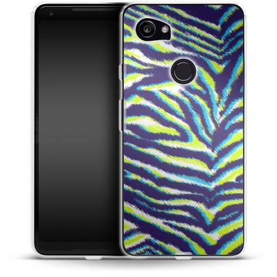 Google Pixel 2 XL Silikon Handyhuelle - Neon Zebra von caseable Designs