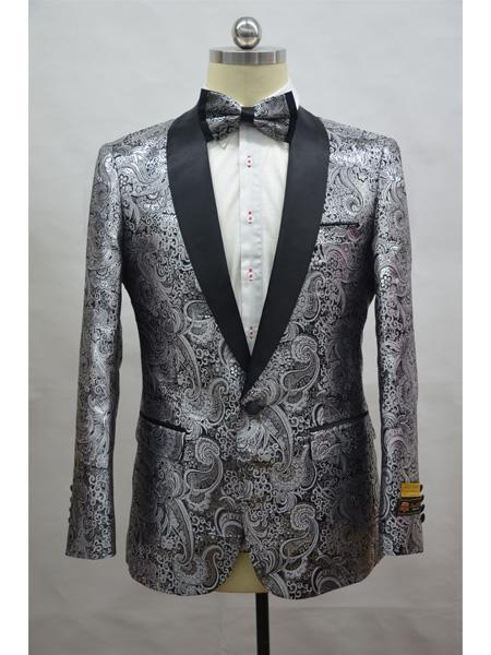 Cheap Mens Printed Flower Jacket Prom modern Tux Silver - Black
