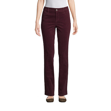 St. John's Bay Womens Mid Rise Straight Corduroy Pant, 10 Petite Short , Red