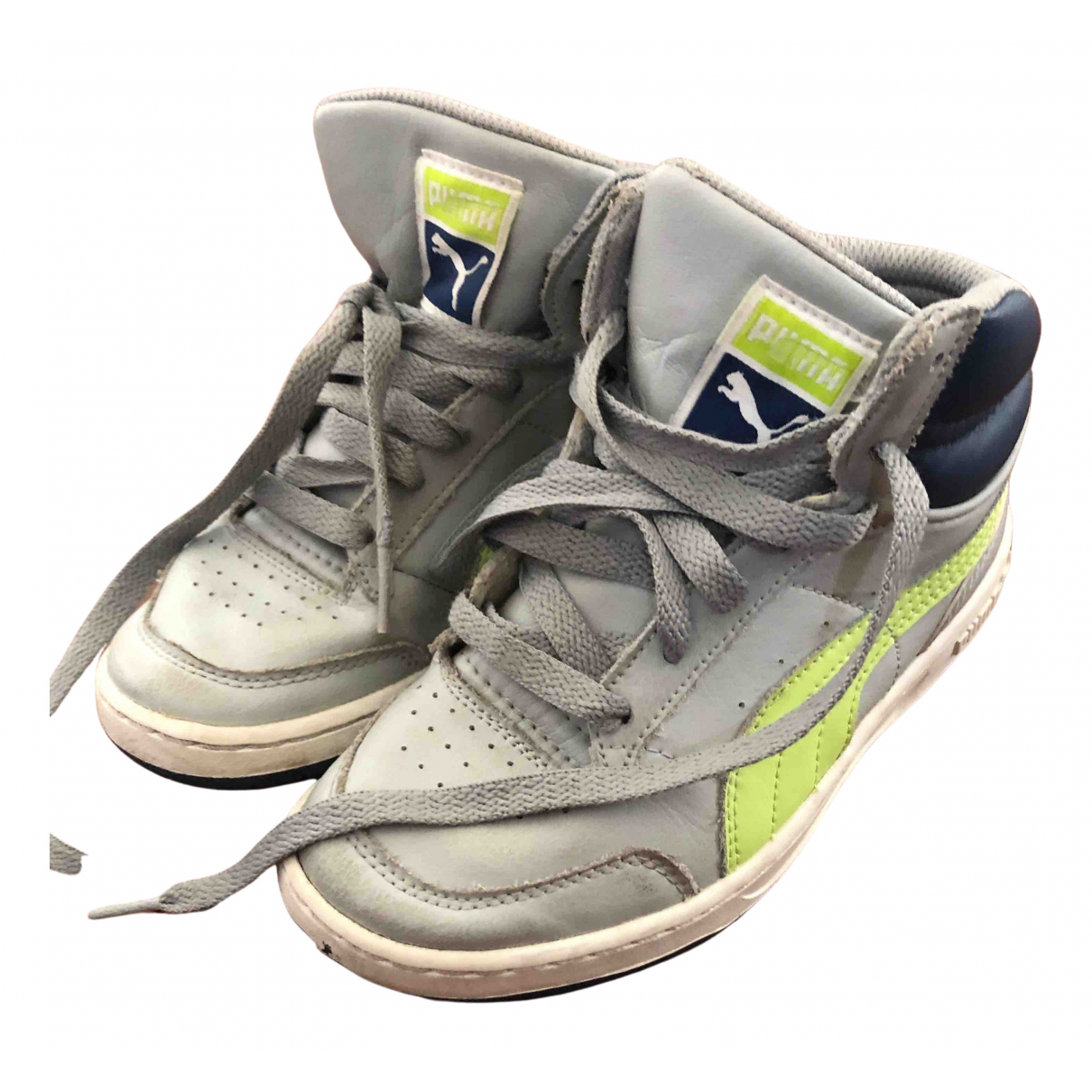 Puma N Grey Leather Trainers for Kids 13 US