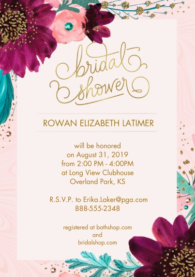 Bridal Shower Flat Glossy Photo Paper Cards with Envelopes, 5x7, Card & Stationery -Elegant Purple & Pink Floral Bridal Shower Invitation by Hallmark