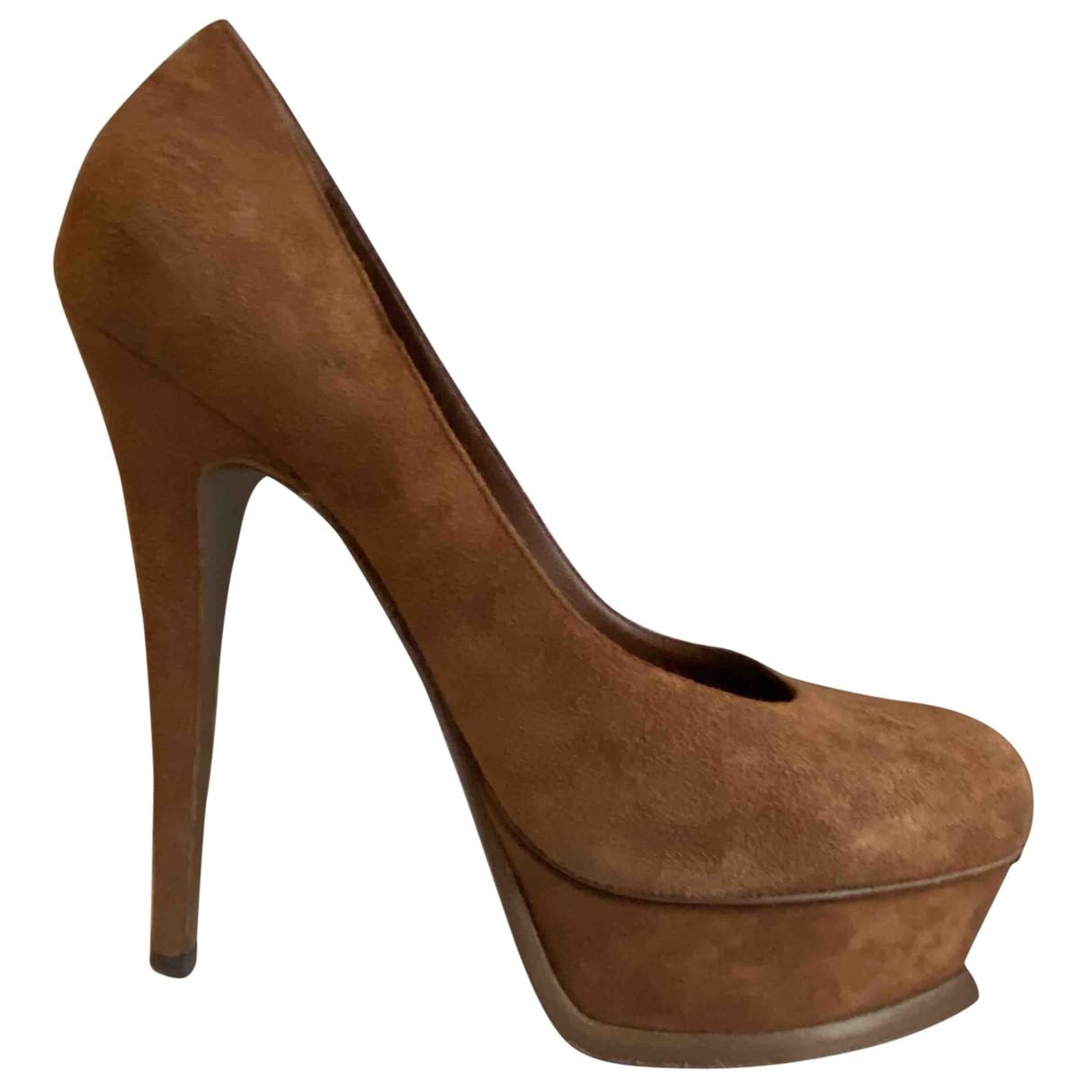 Yves Saint Laurent Trib Too Brown Suede Heels for Women 36.5 EU