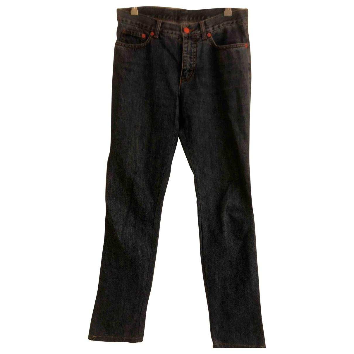 Etro \N Blue Cotton Trousers for Women 42 IT