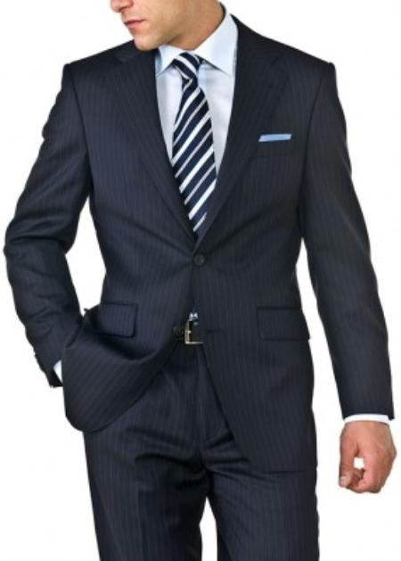 Mens Navy Blue Shadow Stripe Two Button Suit