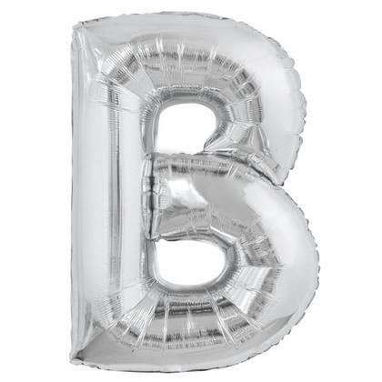 Silver Letter B Shaped Foil Helium Balloon 34