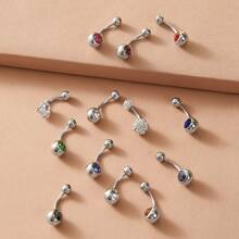 12pcs Rhinestone Decor Random Color Belly Ring