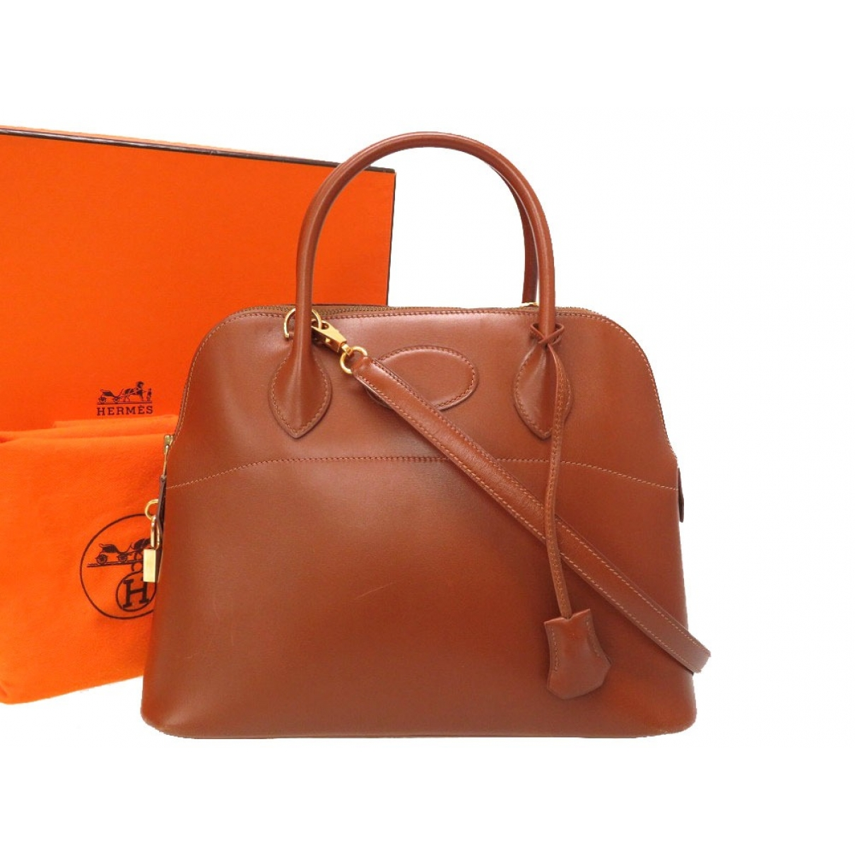 Hermes Bolide Handtasche in  Braun Leder