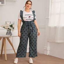 Plus Polka Dot Belted Overall Jumpsuit