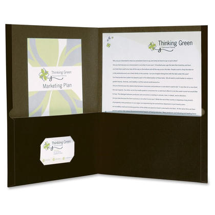 Oxford@ Earthwise@ 100% Recycled Twin Pocket Folders, 10 covers per pack - Black