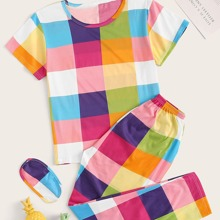 Plus Colorful Plaid Eye Cover PJ Set