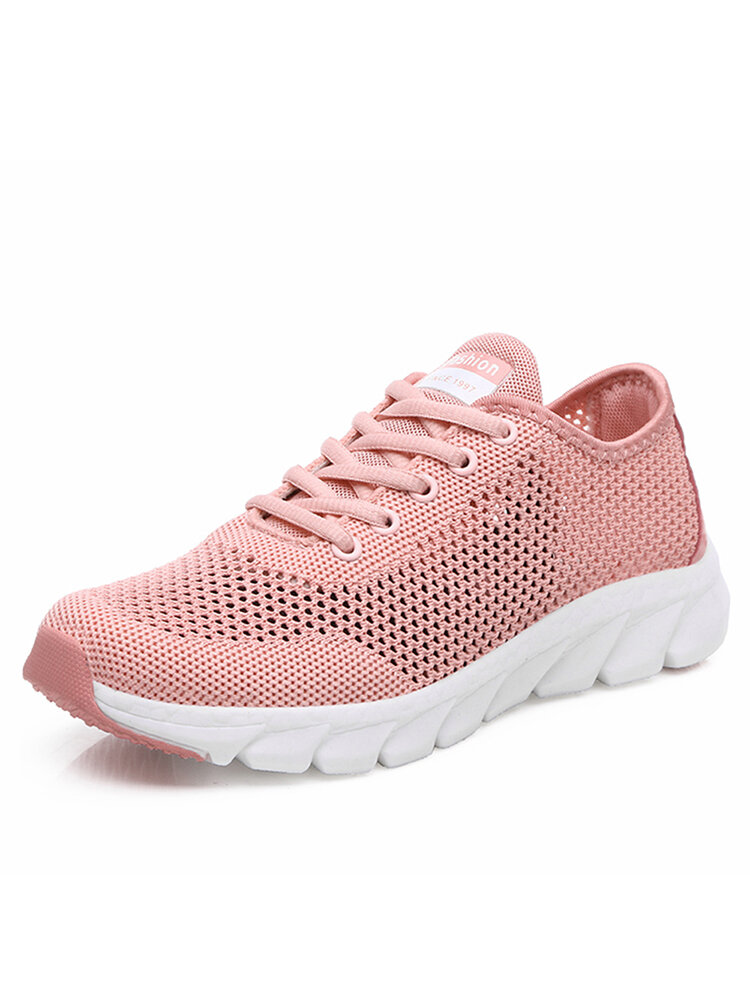 Women Round Toe Hollow Mesh Lace Up Walking Sneakers