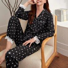 Schlafanzug Set mit komplettem Muster, Kontrast Spitzen und Knopfen vorn