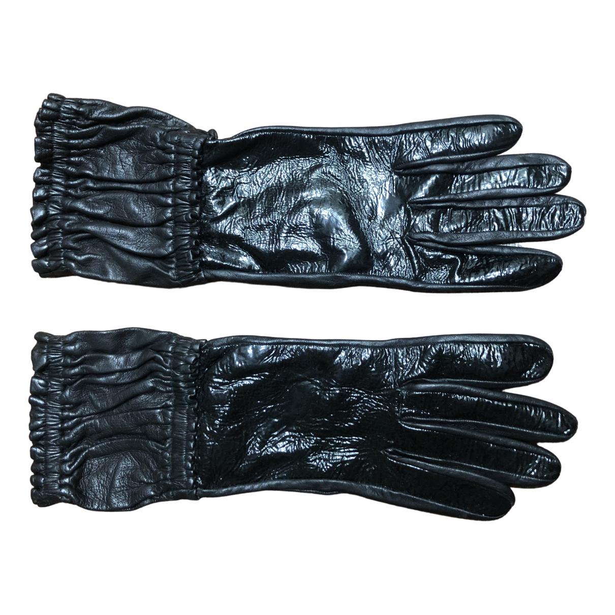 Non Signe / Unsigned \N Handschuhe in  Schwarz Lackleder