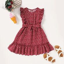 Kleinkind Maedchen Kleid mit Herzen Muster, Raffungsaum und Guertel