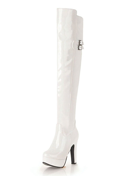 Milanoo Platform Thigh High Boots Womens PU Almond Toe Chunky Heel Over The Knee Boots