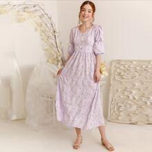Kleid mit Blumen Muster, Puffaermeln und Reissverschluss hinten