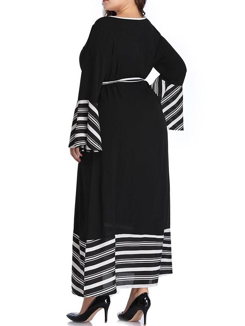 Ericdress Plus Size Flare Sleeve Elegant Patchwork V-Neck Mid-Calf A-Line Dress