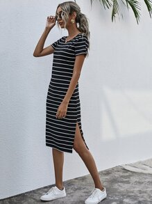 Striped Split Thigh Tee Dress