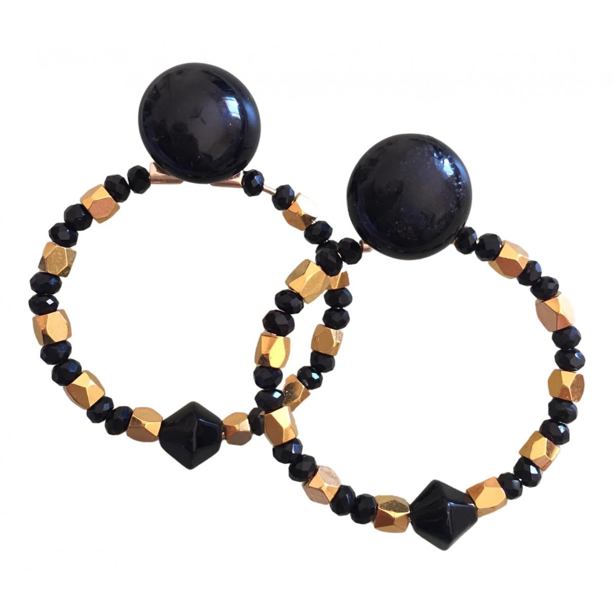 - Boucles doreilles Onyx pour femme en cristal - dore