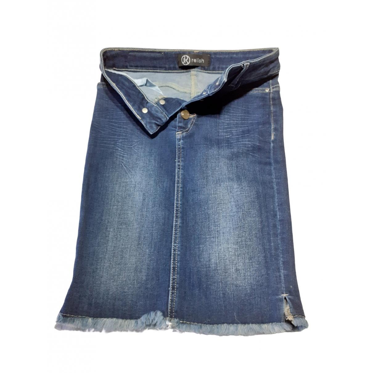 - Jupe   pour femme en coton - elasthane - bleu