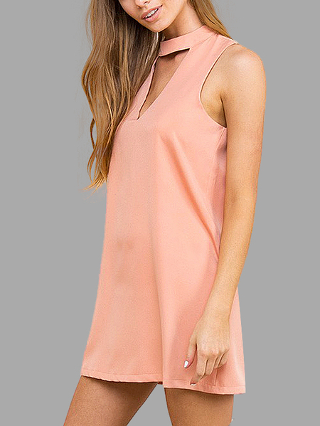 Yoins Triangle Cut Out Sleeveless Mini Dress