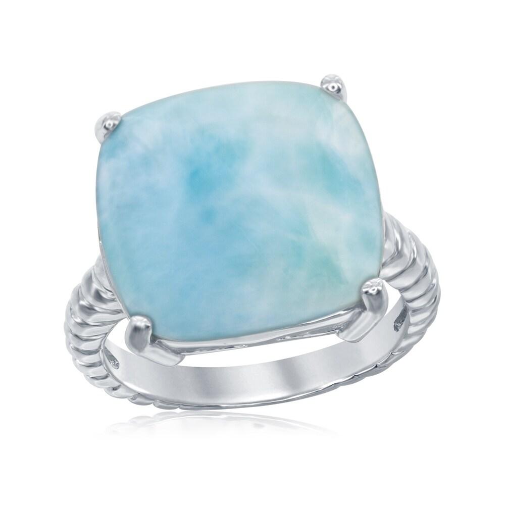 La Preciosa Sterling Silver Natural Larimar Wave Design Ring (6)