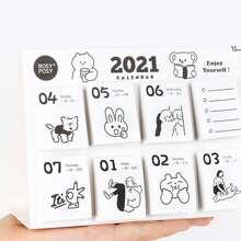 1pack Mini Cartoon Graphic Calendar