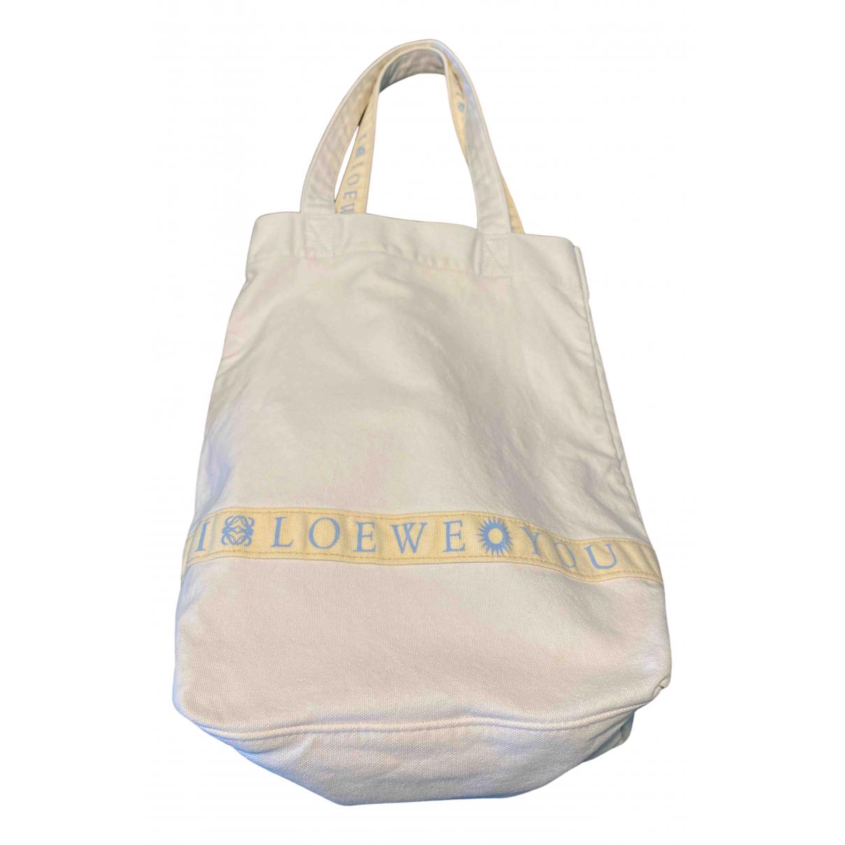 Loewe - Sac a main   pour femme en coton - blanc