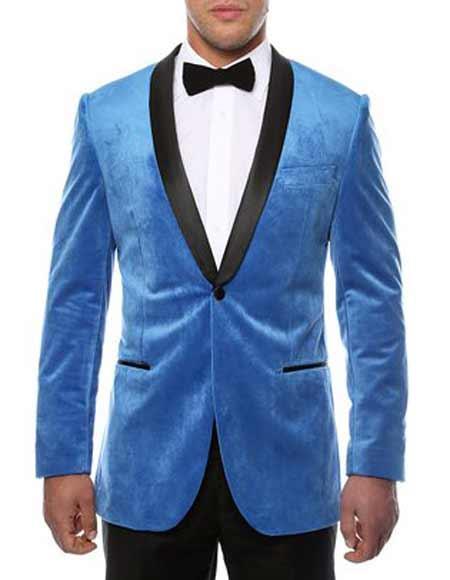 Royal Blue 1Button Mens Shawl Lapel Side Vented  Velvet Velour Blazer