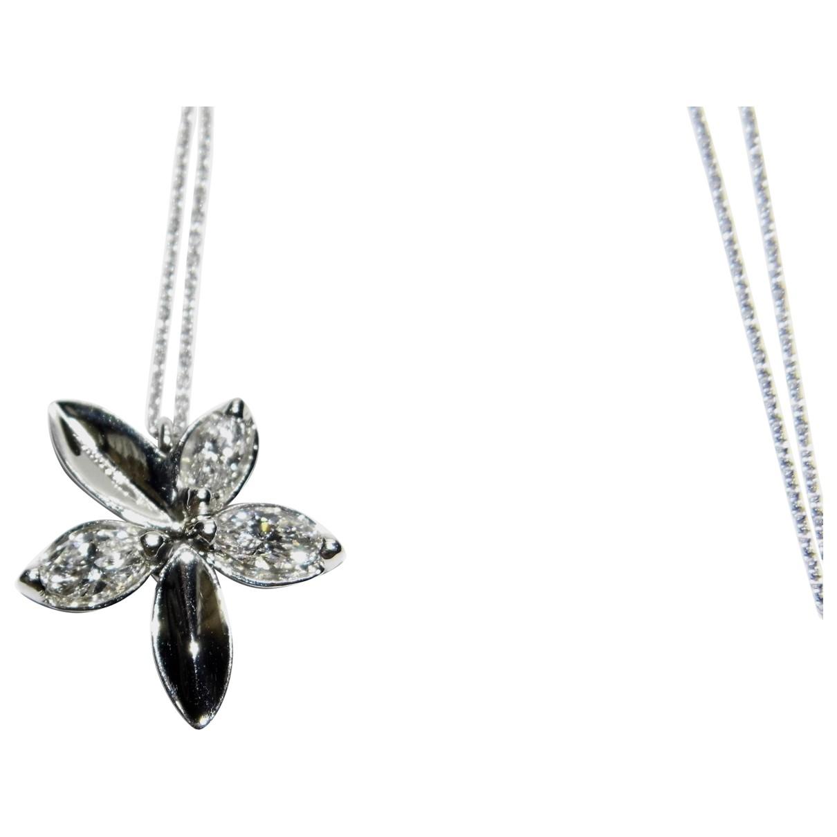 - Collier Motifs Floraux pour femme en platine - blanc